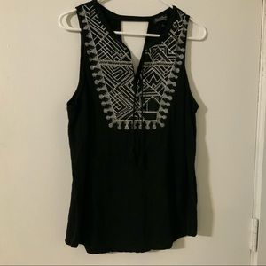 Lucky Brand black embroidered top XL